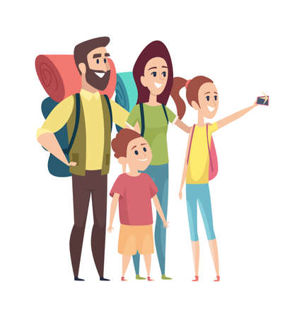 Family making photo. Selfie tourists, vacation or travel. Isolated mom dad girl boy with things for camping vector illustration. Family travel vacation, photo selfie outdoor portrait Vectores
