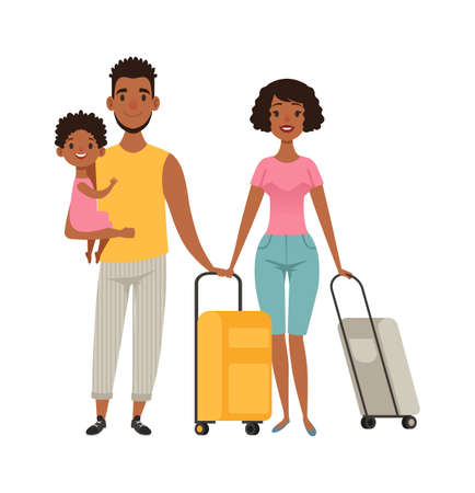 Vacation people with suitcases, family goes on vacation. Cartoon afroamerican characters mom dad daughter vector illustration. Family woman and man with kid and baggage Vectores