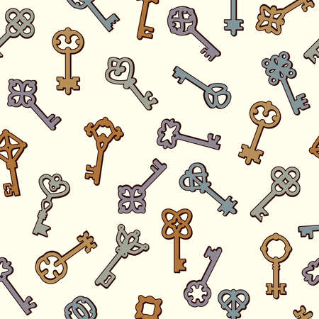 Keys pattern. Safety symbols key collection in victorian style vector seamless background. Symbol safety wrapping backdrop, old-fashioned seamless pattern illustration