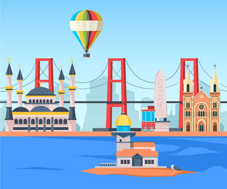 Turkey landscape. Ancient traditional landmarks muslim mosque and skylines istanbul street vector background in flat style. Turkey building, landmark istanbul with mosque, and bridge illustration