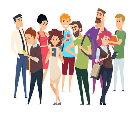 Different people crowd. Isolated man woman with gadgets and book. Happy confused displeased vector characters. People social group community with gadget and books illustation