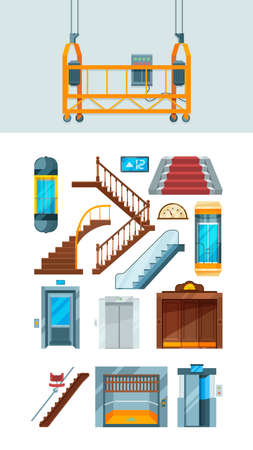 Elevator. Building stairs apartment lifting mechanism vector collection of elevators. Lift down and up, interior staircase illustration, motion transportation way