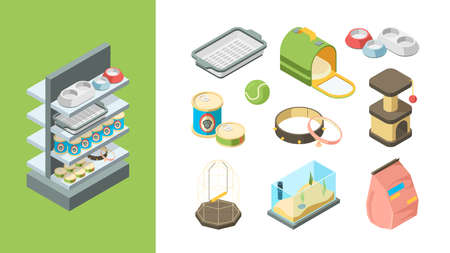 Pets shop. Products for animals balls toys food dogs cats fishes items vector isometric collection. Accessory for pet, nutrition and product, equipment and shampoo illustration Illustration