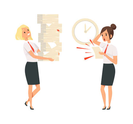 Office managers. Unfulfilled tasks, deadline time. Isolated girls in suits scared and tired vector illustration. Office work, business stress with pile task