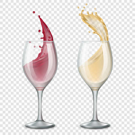 Glass wine. Alcoholic drinks splashes flowing red and white drops vector realistic illustrations. Wine drink, winery alcohol in glass