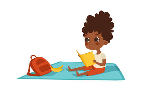 Girl reading. Afroamerican child with book and backpack sits on plaid. Summer activity, self education and entertainment vector illustration. Girl with book learning and reading Vecteurs
