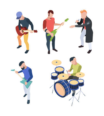 Rock band. Isometric musician people with instruments guitars drum and microphone vector rock concert characters. Concert rock, musician guitarist and microphone illustration Vetores