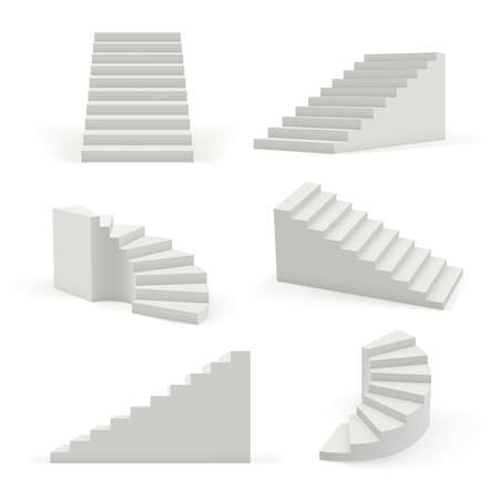 Stairs modern. 3d white architectural objects for interior space up and down steps vector templates. Interior staircase, architecture stairway construction illustration