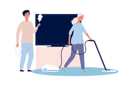 Home cleaning. Couple doing housework. Woman and man clean house together vector illustration. Housework and housekeeping, household domestic
