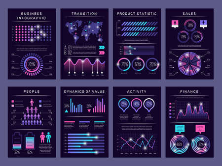 Infographic brochures. Modern abstract graph visualization different charts data booklets templates vector design set with infographic objects. Business graph and diagram, visualization illustration Illusztráció