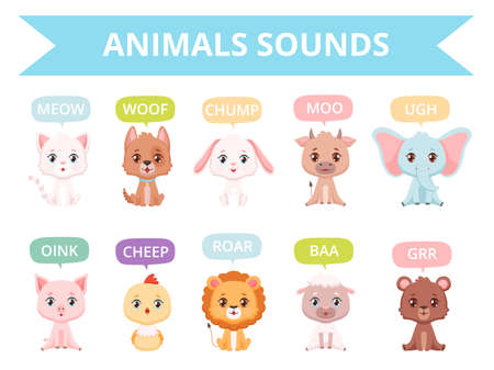 Animals sounds. Zoo birds cats dogs farm animals communication talking speaking words vector characters. Sound animal character, vector zoo illustration