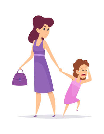 Bad behavior. Little girl crying, isolated mother and daughter. Cartoon puzzled woman and child. Sad female illustration. Behavior girl unhappy, conflict mother and daughter