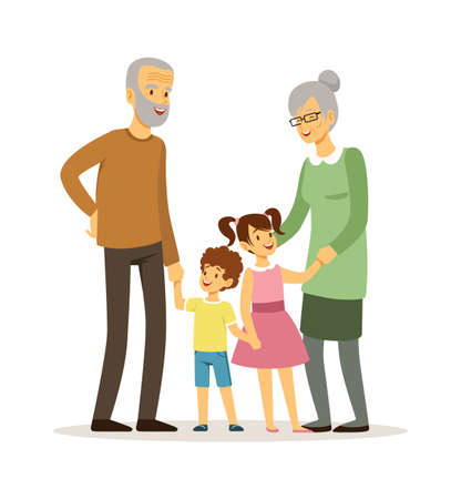 Happy grandparents. Smiling elderly woman man with children. Family time, isolated cartoon old people and young kids, vector illustration. Family elderly grandmother grandfather and grandchildren Stock Illustratie