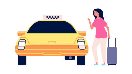 Traveller and taxi. Road to airport, young woman with suitcase get in yellow car. Isolated female tourist vector character. Taxi transportation, road to airport illustration 向量圖像