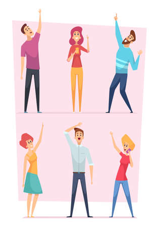 Looking up. People pointing in sky group of happy characters vector illustrations. People crowd audience looking and pointing up  イラスト・ベクター素材