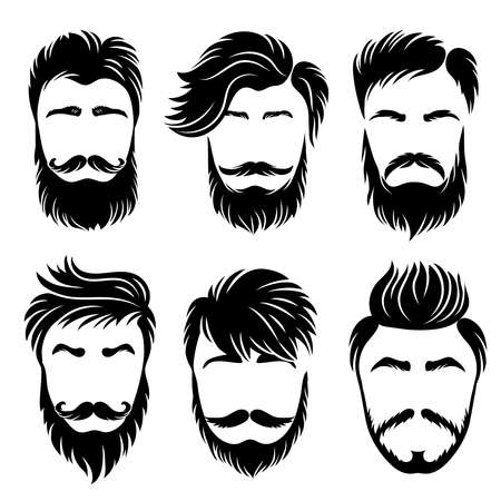 Man hair style. Shaved haircut and barber grooming different stylish variations vector set. Illustration hair mustache, haircut hipster silhouette Illustration