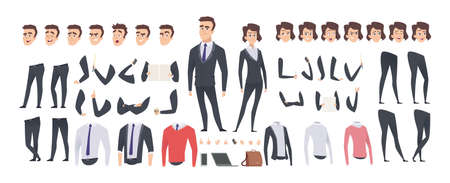 Cartoon businessman creation kit. Business woman and man or managers constructor, body gesture and hairstyle and emotions vector set. Illustration character man kit, creation set body