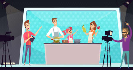 Family cooking show. TV entertainment, parents and child on kitchen. Shooting program with director vector illustration. Family cooking food online show, cook dinner meal