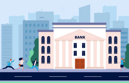 People run to bank. Financial crisis, crowd need money. Banking system, city administrative building vector illustration. Crisis and bankruptcy, business problem