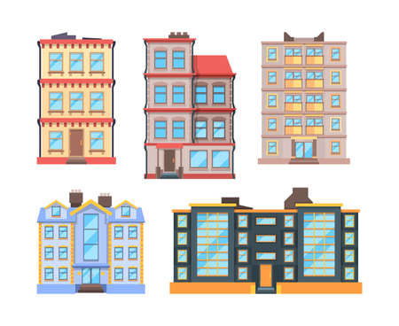 Living buildings flat style. Urban houses with 3 or 9 floor home apartments nice modern urban exterior city vector construction. Urban house residential, living apartment building illustration