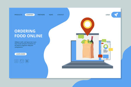 Ordering food online. Shopping market basket with grocery food vector landing page template. Grocery online, market basket order illustration Illusztráció