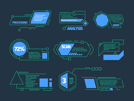 Hud callouts. Future technology frames tech bars boxes vector digital callouts collection. Futuristic infographic, digital technology hologram illustration