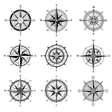 Wind rose set. Travel adventure sailing nautical rose destination directional arrows vector navigation symbols for old map. Illustration travel compass wind rose Vecteurs