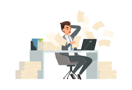 Man received letter. Torn deadlines, businessman reading documents and surprised. Guy works at computer in office vector illustration. Businessman overworked, employee worker frustrated