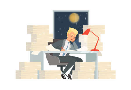 Work at night. Man working with papers, solving complex problems. Manager and deadline, young businessman comes up with startup vector concept. Office person tired, employee businessman illustration Vectores