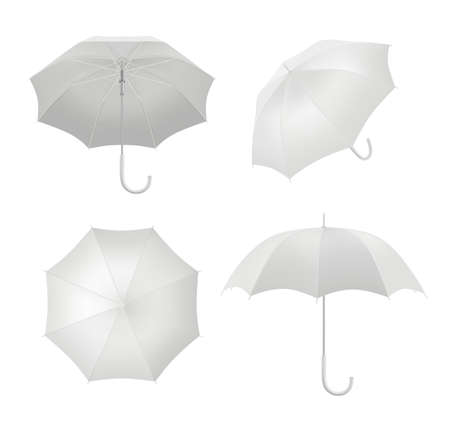Realistic umbrellas. Rain protection symbol umbrella in various view points vector blank template. White parasol realistic object, safety protection covering illustration