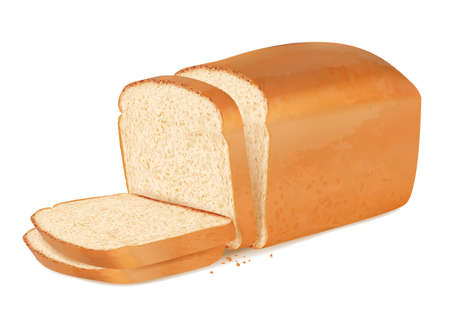 Slices bread. Realistic fresh bakery products stack of baguette vector delicious bread.