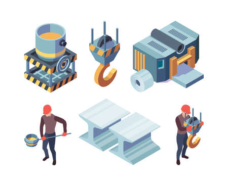 Metallurgy isometric. Steel production factory metallic foundry industrial iron steels vector collection.