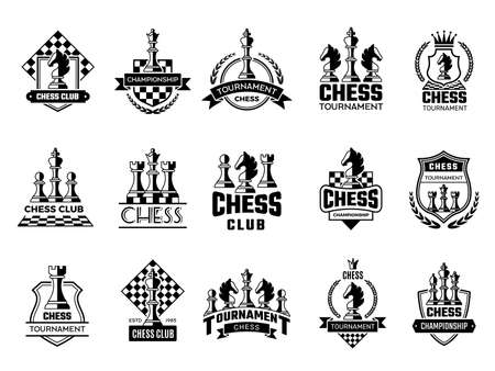 Chess labels. Sport stylized silhouettes of chess figures knight rook pawn vector illustration of badges. Emblem chess competition, queen and king
