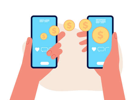 Mobile money transfer. Hands hold smartphones, golden coins flying to other people. E-wallet or e-pay vector illustration.