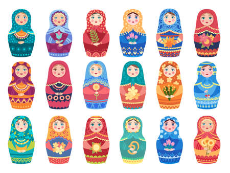 Russian doll colored. Traditional moscow toys authentic floral colored decoration woman or girl vector characters. Russia national toy, handmade ornament decoration illustration