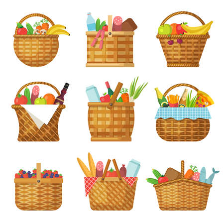 Basket with products. Handcraft picnic hamper with various food vegetables fruits vector baskets.