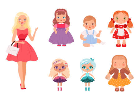 Dolls for kids. Funny children toys male and female cute models for playing vector illustrations.