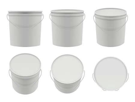 Plastic containers. Empty white buckets mockup vector packages collection. Container with putty, white bucket of set illustration