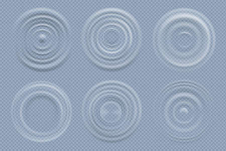 Water circles. Realistic round shapes of liquids top view waves vector template. Liquid effect ripple surface ring wave illustration