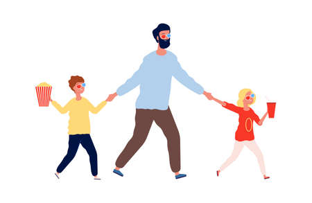 Weekend with father. Man kids going to cinema. Dad with daughter and son with popcorn drink in movie theater vector illustration. Father together child move to cinema to watch movie Stock Illustratie