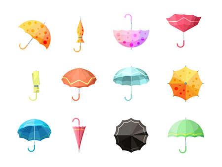 Umbrella. Collection of autumn protection flexibility umbrellas rain symbols vector set. Collection of umbrella to autumn rain illustration