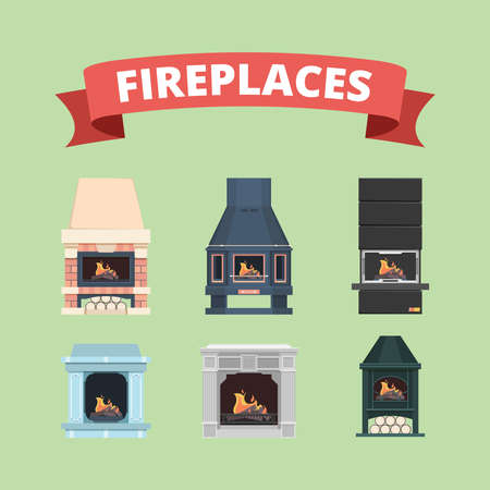 Fireplace. Retro gas stove flame decoration in interior vector flat pictures fireplaces. Stove with fire, interior classic fireplac collection illustration
