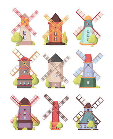 Windmill. Farm holland rural buildings watermill electricity generation vector windmill. Wind mill rural, building farm tower illustration