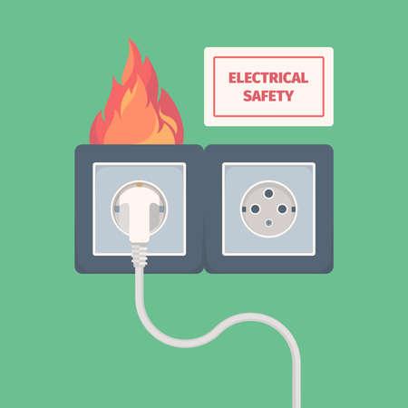 Damaged electric socket. Fire on electricity plug big overload voltage burning wall socket vector concept. Danger fire electric in socket illustration