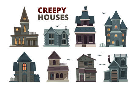 Horror house. Halloween scary gothic village buildings with spooky vector pictures set. House building halloween, horror window and exterior illustration Vektoros illusztráció