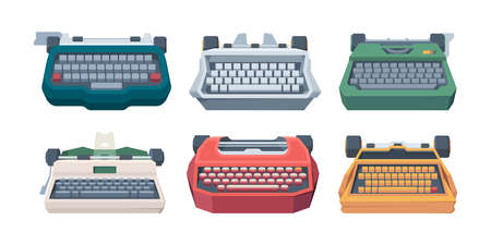 Retro typewriting. Type keyboard letter old machines for writers vector illustration. Publishing equipment, typewriter and keyboard collection