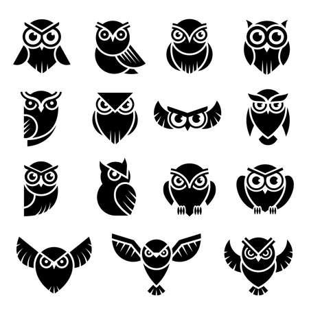 Bird logo. Wild owl knowledge symbols vector stylized modern graphic illustration. Identity predator logo, wild owl silhouette  イラスト・ベクター素材