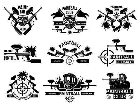 Paintball badges. Sport shields with gun paint shooter with weapons and target vector template. Illustration paintball sport logo, badge and emblem  イラスト・ベクター素材