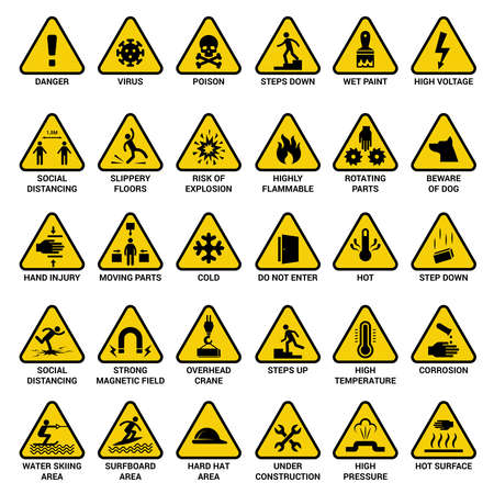 Triangle warning sign. Danger symbols safety emergency electrical hazard vector collection. Illustration yellow caution icon, social distancing and flammable