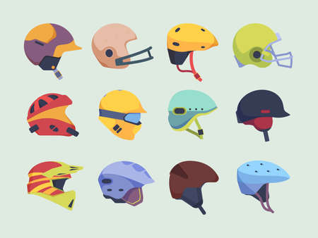 Safety sport helmet. Head accident protection items race motorbike hockey and paintball helmet vector. Illustration protection helmet for motorcycle and sport equipment  イラスト・ベクター素材